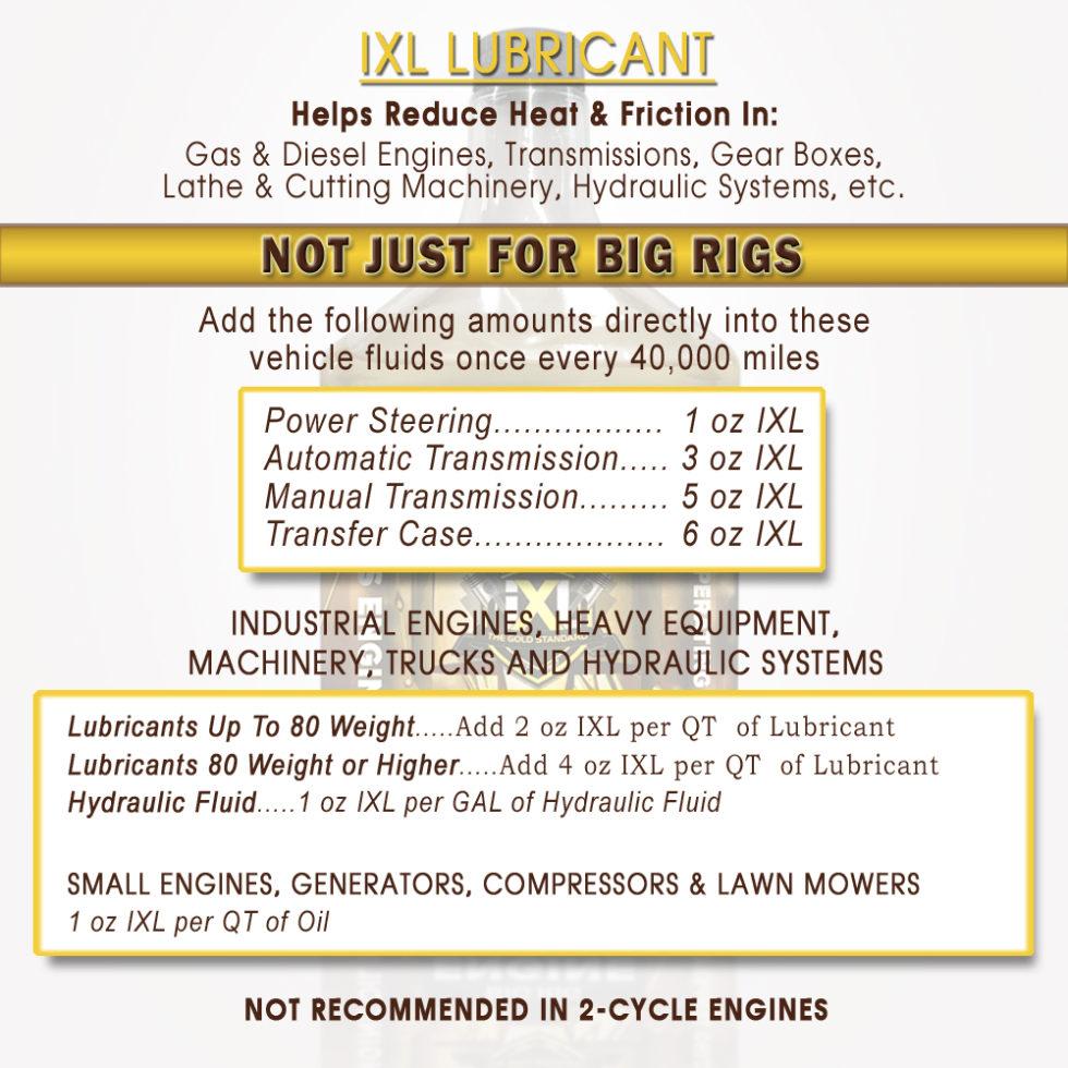 iXL Premium Lubricant usages
