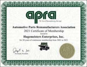 Automotive Parts Remanufacturers Association member for 20 years